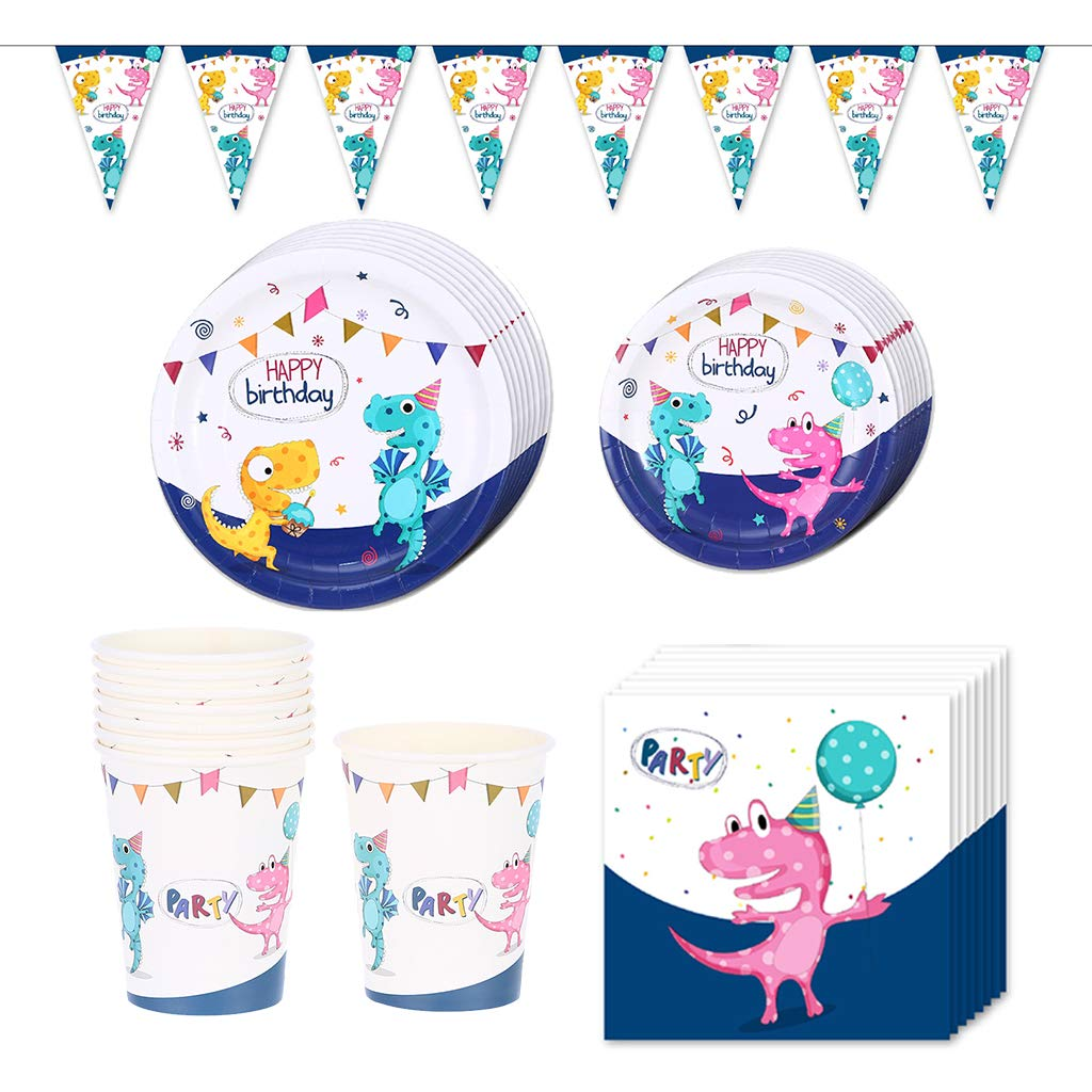 Amycute 65 Pcs Dinosaur Disposable Tableware Set,Girl Dinosaur Party Supplies Banner Cups Plates Napkins Cutlery Set, Baby Showers Birthday Party Favors Decorations Supplies
