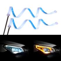 Senzeal 2PCS 24 Inches LED Light Strip Dual Color Daytime Running Light Strip Waterproof Sequential Switchback LED Kit for Car Headlight Turn Signal Lights