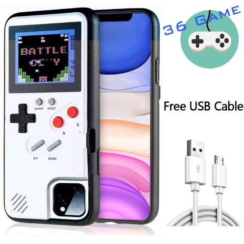HARDER Gameboy Case for iPhone, Retro 3D Design Style Silicone Protective Case with 36 Small Games, Color Display Shockproof Video Game Phone Case for iPhone 11 (White)