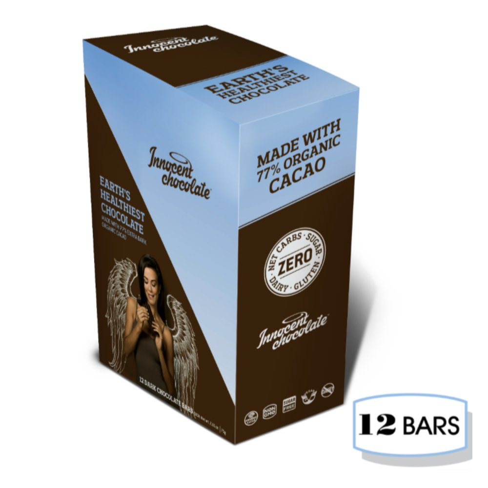 Innocent Chocolate - 77% Extra Dark Chocolate Bar - 12 Bars - 100% Organic, Natural, and Allergen Free with Zero Net Carbs