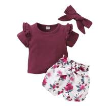bilison Toddler Baby Girl Clothes Outfits, Solid Color Ruffle Short Sleeve Tops + Pant Set with Headband