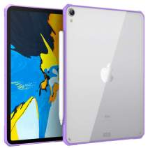 """MoKo Case Fit iPad Pro 11"""" 2018 [Support Pencil 2 Charging Function] Flexible TPU Air-Pillow Edge Bumper Cushion Combines Ultra Slim Lightweight Transparent Hard PC Back Cover Shell - Purple"""