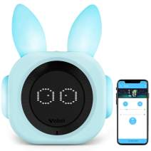 VOBOT Alarm Clock for Kids, Night Light Sound Machine with Amazon Alexa, Time to Rise Smart Sleep Trainer Clock for Kids/Toddlers - Light Blue