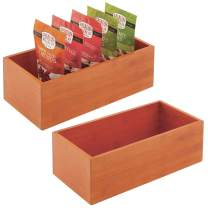 mDesign Bamboo Kitchen Cabinet Pantry Organizer Bin - Eco-Friendly, Multipurpose - Use in Drawers, on Countertops, Shelves or in Pantry, 2 Pack - Cherry/Natural Wood Finish