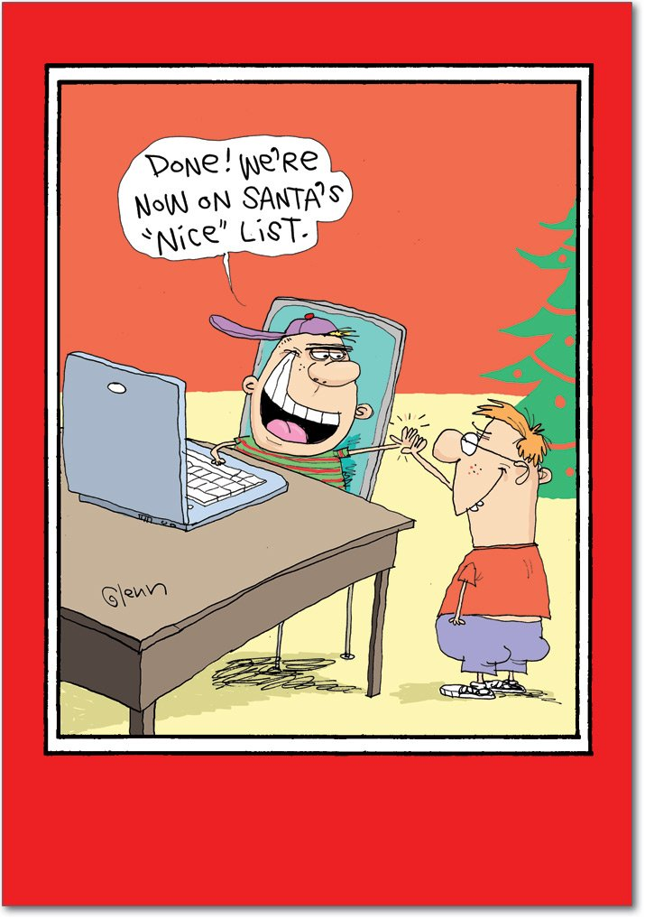 12 'Nice List Hackers' Boxed Christmas Cards with Envelopes 4.63 x 6.75 inch, Funny Cartoon Christmas Notes, Silly Boys Holiday Cards, Computer Hacker Holiday Notes, Christmas Stationery B5793