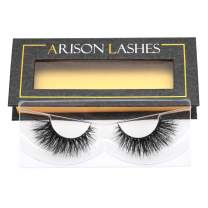 Arison Mink Lashes, 3D Mink Eyelashes False Eyelashes Wispy Natural Look Long Soft Fluffy Real Mink Lashes Reusable Handmade Strips 1 Pair Package for Makeup (AH03)