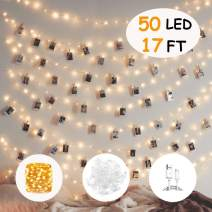 HEHUI Photo Clips String Light,17ft 50 LED Photo String Lights with Clips for Wedding Party Christmas Home Decorate,Fairy Lights for Hanging Pictures,Cards and Artwork,Battery & USB Powered