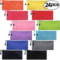 EOOUT 24pcs Zipper Pencil Pouch, Waterproof Zipper File Bag Pen Case, for Office Supplies, Travel Accessories and Cosmetics, 12 Colors