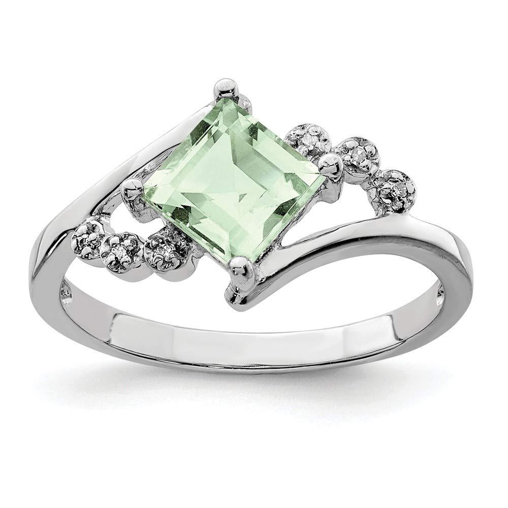 925 Sterling Silver Princess Cut Green Quartz Diamond Band Ring Stone Gemstone Fine Jewelry For Women Gift Set