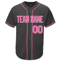 Pullonsy Black Custom Baseball Jersey for Men Women Kids Full Button Mesh Embroidered Team Name & Numbers S-8XL