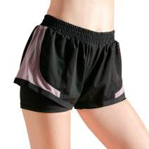 The Twins Dream Women Workout Running Shorts Active Yoga Gym Sport Shorts with Pockets 2 in 1