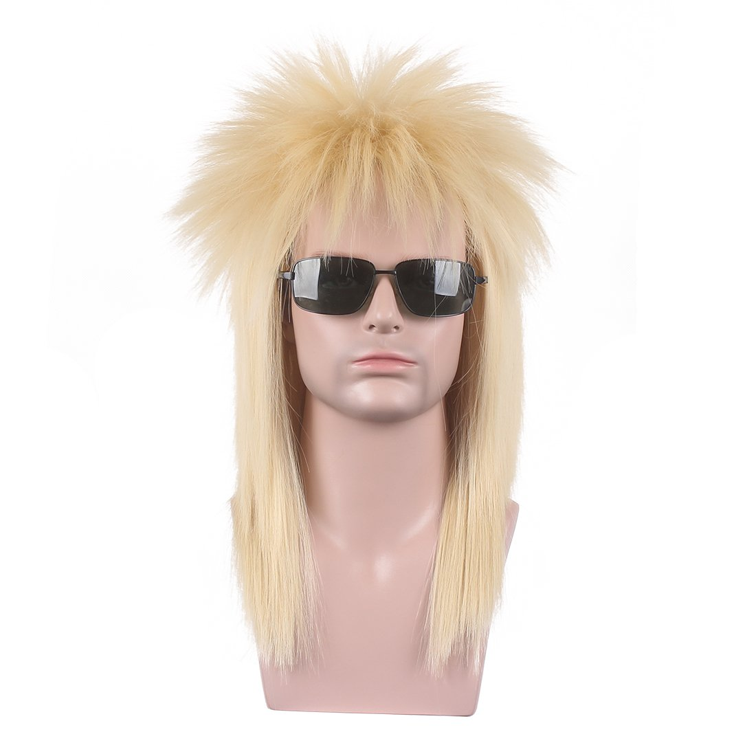 wildcos 80s Long Blonde Straight Cosplay Wig for Men