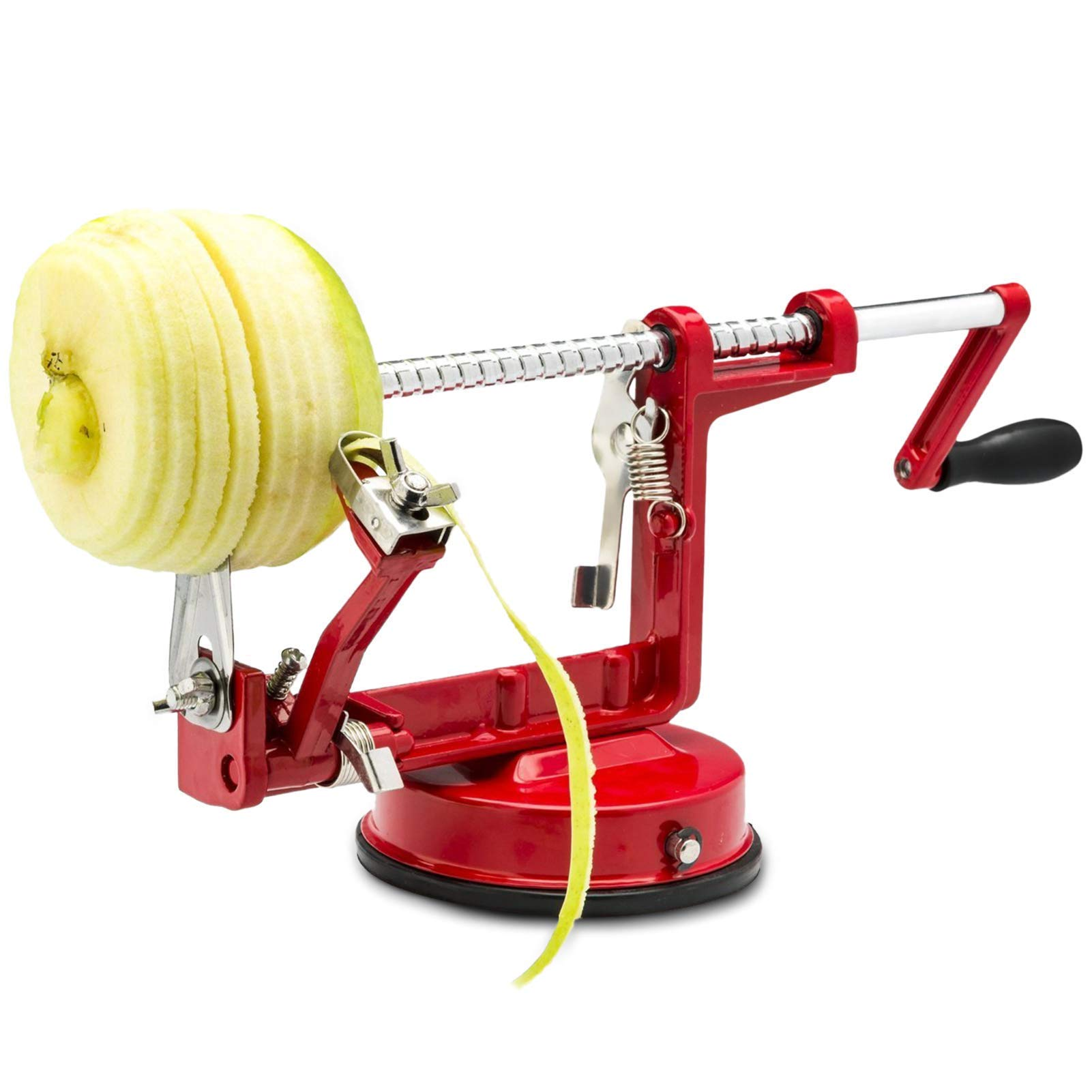 RXXM Apple Peeler Slicer Corer 3 in 1 Stainless Steel Blades Suction Grips Base Heavy Duty Durable Hand-cranking Apple/Pear/Potato Peelers Fruit/Vegetable Salad Apple Pie Tools for Kitchen, Red