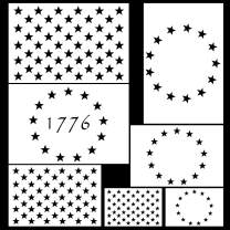Koogel 7pcs Plastic Stencil Template,3 Sizes American Flag 13/50 Star Stencil Template for Planner/Notebook/Wood/Wall/Graffiti/Card DIY Drawing Painting Craft Projects