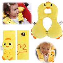 Car Seat Strap Covers & Head Support Pillow,6-12 Months Baby Neck Pillow and Infant Seat Belt Cover,Head Neck Cushion Pillow and Shoulder Cushion Pad for Toddler Baby Carseat or Stroller (Yellow)