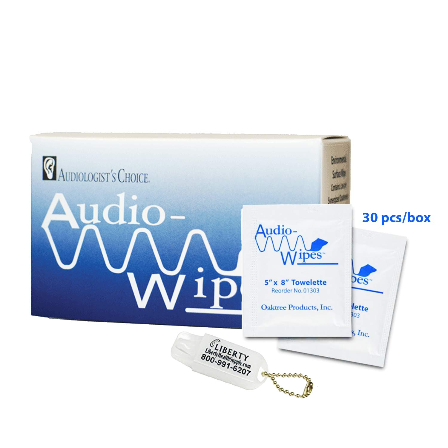 Audio-Wipes Individual Cleaning Towelettes - Box of (30 Wipes) Hearing Aid Cleaning Wipes Towelettes Individually Packaged and Liberty Hearing Aid Battery Keychain