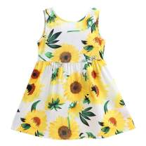 Little Hand Toddler Baby Girls Kids Sleeveless Summer Dress Sunflower Printed Sundress Party Dresses for Size 2-7 Years