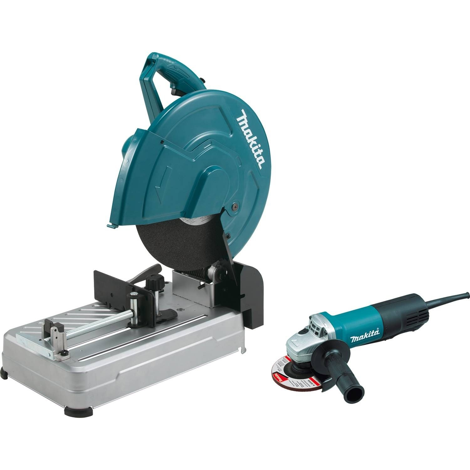 """Makita LW1400X2 Cut-Off Saw with Tool-Less Wheel Change and 4-1/2"""" Paddle Switch Angle Grinder, 14"""" (Discontinued by Manufacturer)"""