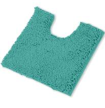 LuxUrux Bath Mat, U-Shaped Contoured Rug for Around Toilet, Super Absorbent Shaggy Bath Rug. Machine Wash & Dry (20 x 23, Turquoise)