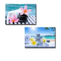 "wall26 - Canvas Prints Wall Art - Spa Treatment on Tropical Beach | Modern Wall Decor/Home Decoration Stretched Gallery Canvas Wrap Giclee Print & Ready to Hang - 16""x24"" x 2 Panels"