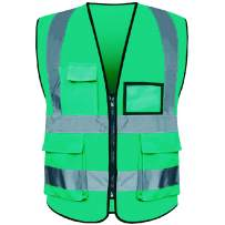High Visibility Safety Vest 4 Pockets with Zipper Reflective Strips (XL-XXL)