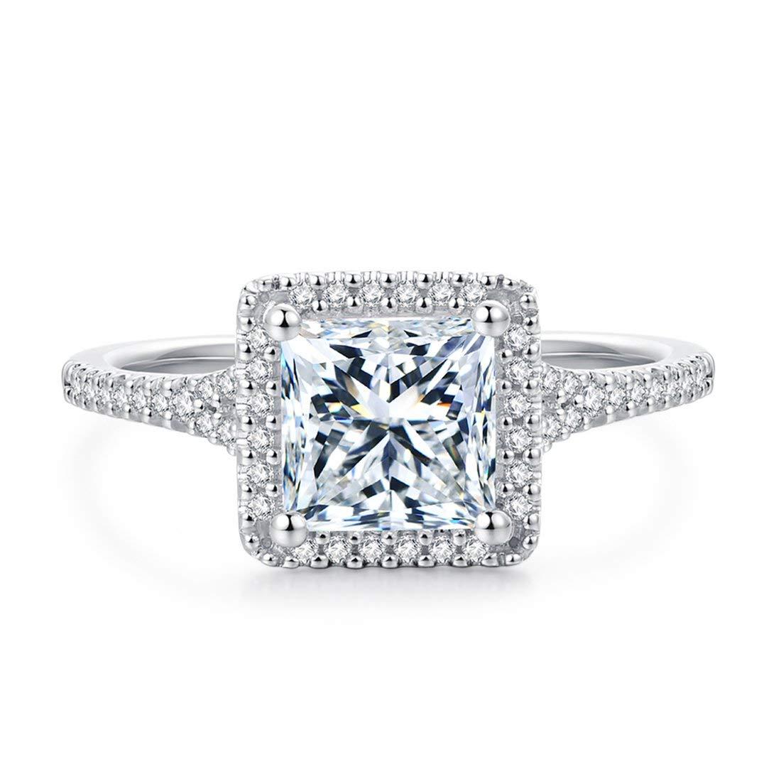 HAFEEZ CENTER 6.5mm 1.5 Carat Princess Cut Simulated Diamond Cubic Zirconia Halo Engagement Rings for Women
