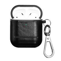AirPods Case -Valkit AirPods Leather Case Cover[Front LED Visible] 360°Protective with Keychain Support Wireless Charging,AirPods Accessories Compatible with AirPods 2 & 1 (Black)