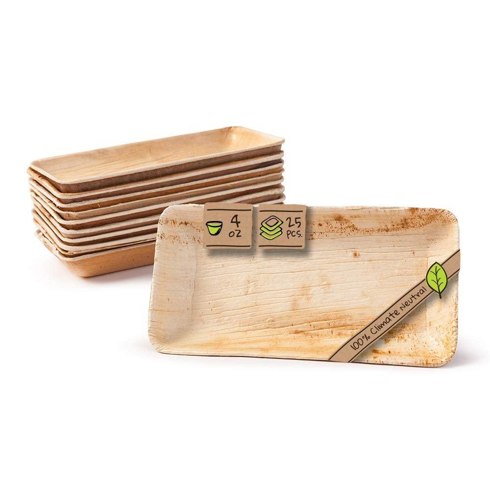 """Naturally Chic Compostable Biodegradable Disposable Plates - Palm Leaf 6 x 3"""" Rectangle Small Dinnerware Set - Eco Friendly Alternative - Party, Wedding, Event Plates (25 Pack)"""