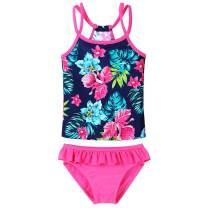 BAOHULU Little GirlsTankini Rash Guard Set Flower Lovely Straps Bikini Swimsuit