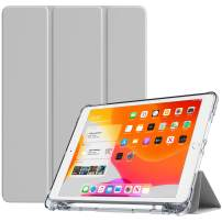 """TiMOVO Case for New iPad 7th Generation 10.2"""" 2019, Soft TPU Translucent Frosted Back Protective Smart Case with Auto Wake/Sleep & Pencil Holder Fit iPad 10.2-inch Retina Display - Light Gray"""
