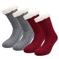 2 Pairs Women's Winter Fleece Lined Socks Super Soft Warm Cozy Fuzzy Christmas Slipper Socks With Grippers