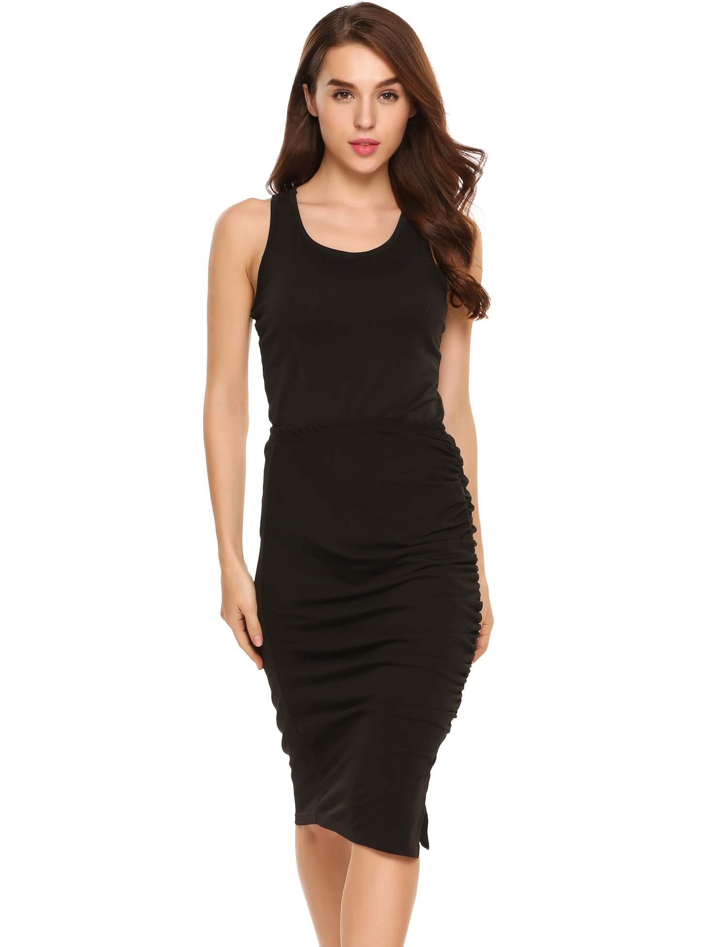Zeagoo Womens Elegant Ruched Frill Ruffle High Waist Pencil Mid-Calf Skirt