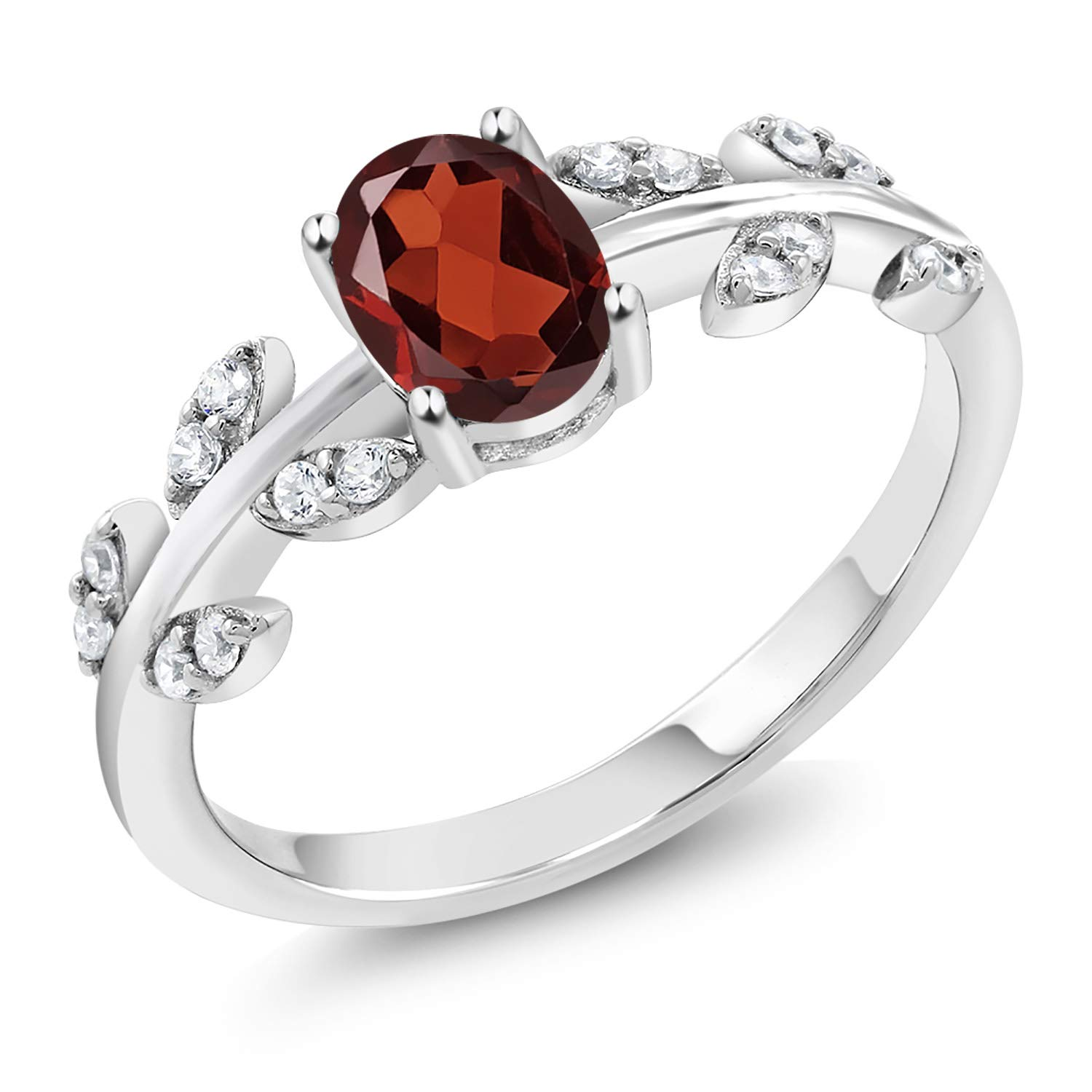 Gem Stone King 925 Sterling Silver Red Garnet Olive Vine Branch Engagement Ring (1.11 Ct Oval Gemstone Birthstone Available in size 5, 6, 7, 8, 9)