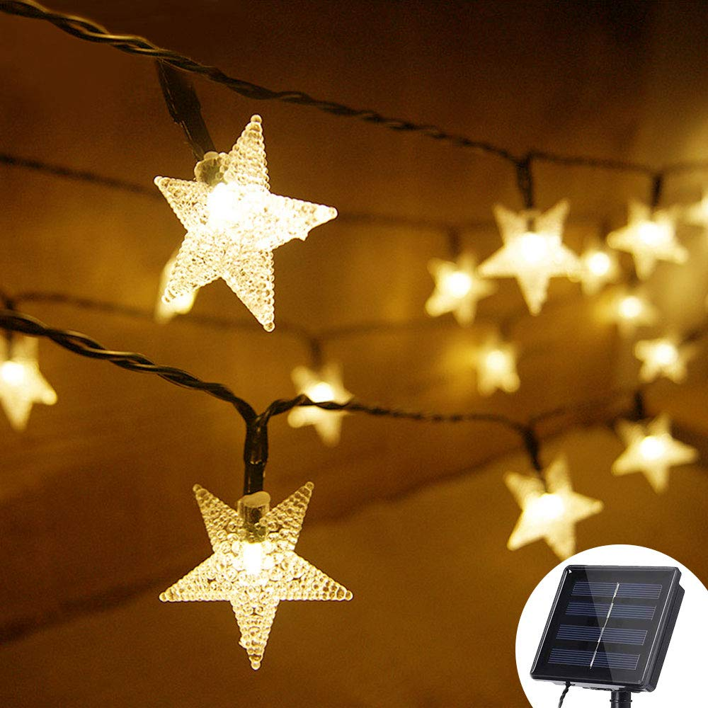 Grezea Solar Twinkle Star String Lights 50 LED 8 Modes Fairy Decorative Light for Garden Patio Lawn Balcony Tree Outdoor Landscape Indoor Decoration for Playhouse Bedroom Curtain Bed Canopy, 21' Warm