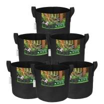 Moistenalnd 6-Pack 7 Gallon Plant Grow Bags, 300G Heavy Duty Thickened Non-Woven Aeration Fabric Pots with Handles for Garden Plants Growing