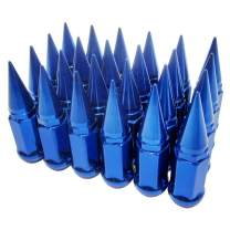 24 Sets Blue Universal 2pc Extended Spike Lug Nut M9/16-18 Conical Seat Hex 3/4