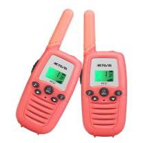 Retevis RT37 Kids Walkie Talkies, Toys for 3-12 Year Old Girls 22 Channels 2 Way Radio with Backlit LCD Flashlight Toy for Outdoor Camping Games,Camping, Hiking (Pink, 2 Pack)