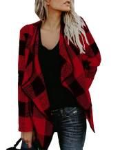 NIUBIA Womens Casual Lapel Collar Jacket Buffalo Plaid Open Irregular Cardigan Coat Outwear