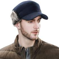 Jeff & Aimy Mens Womens Winter Wool Baseball Cap with Ear Flaps Faux Fur Earflap Trapper Hunting Hat for Cold Weather