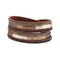 GelConnie Leopard Print Leather Wrap Bracelet Multi Layer Cuff Bracelet Magnetic Boho Bracelet for Women, Mother, Wife