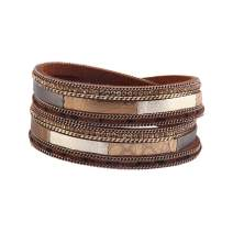 GelConnie Leopard Print Leather Wrap Bracelet Multi Layer Cuff Bracelet Magnetic Boho Bracelet for Women, Mother, Wife
