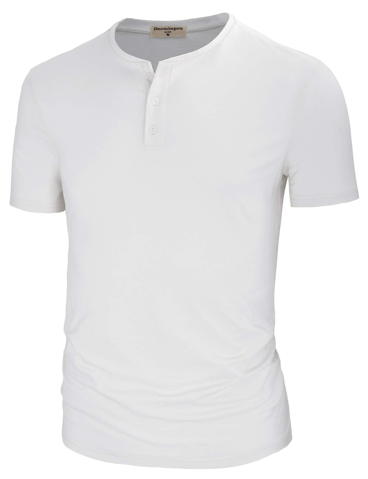 Derminpro Men's Casual Regular Fit Cotton Henley T-Shirts White XX-Large