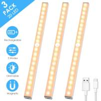 LED Closet Light, MOICO 3 Modes 20-LED Rechargeable Motion Sensor Under Cabinet Lighting, Dimmable Stick-on Night Light Bar for Counter, Wardrobe, Kitchen, Hallway, Stairs, 3 Pack (Warm White)