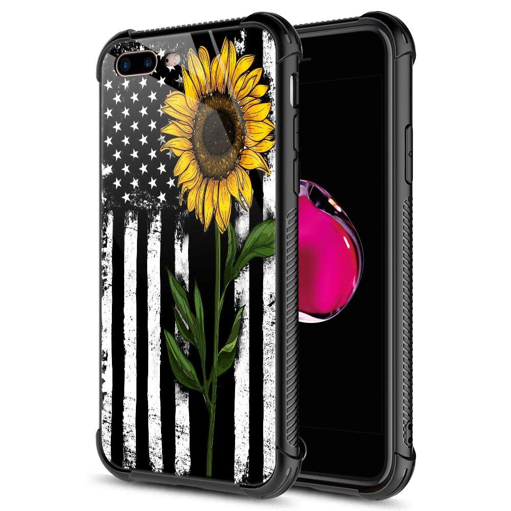 iPhone 8 Plus Case, 9H Tempered Glass Sunflower and Flag iPhone 7 Plus Cases for Girls [Anti-Scratch] Fashion Cute Pattern Design Cover Case for iPhone 7/8 Plus 5.5-inch Sunflower Flag