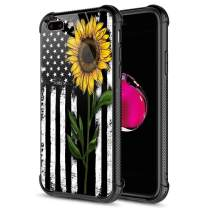 iPhone SE 2020 Case,Tempered Glass iPhone 8 Case,Sunflower and Flag iPhone 7 Cases [Anti-Scratch] Fashion Cute Cover Case for iPhone 7/8/SE2 4.7-inch Sunflower Flag