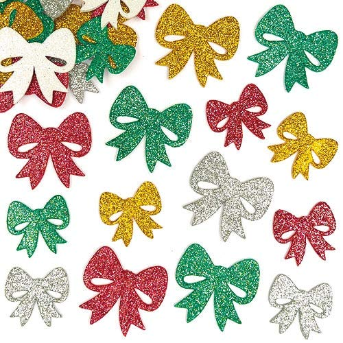 Baker Ross Self-Adhesive Foam Christmas Glittery Bow Decoration Stickers / Kids Holiday Fun Arts & Crafts Project / No Glue or Scissors Needed / Pack of 100 Shiny Xmas Present Toppers