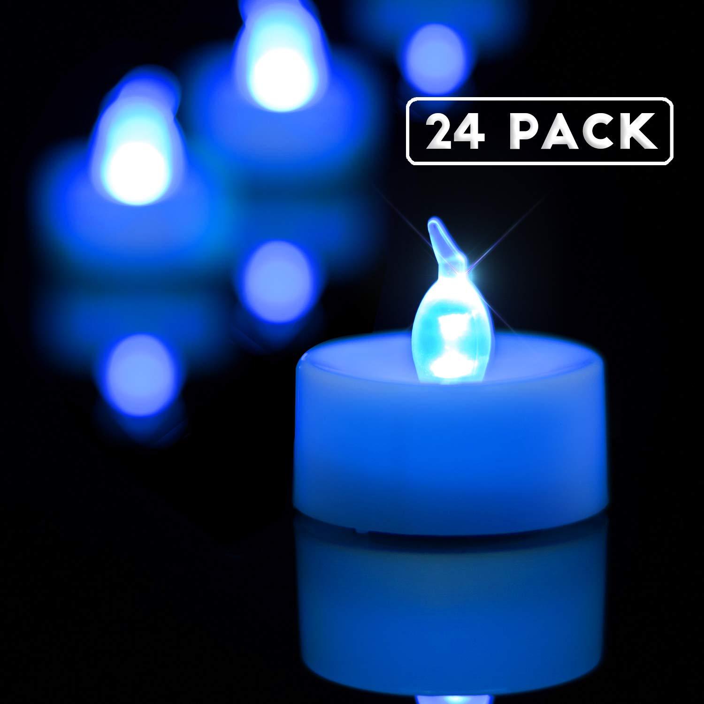 Homemory LED Tea Lights Candles Bulk, Set of 24 Battery Tea Lights, Long-Lasting Battery Operated Blue Tea Lights, White Base, Batteries Included