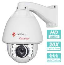 IMPORX Auto Tracking PTZ IP Camera, 20X Optical Zoom, 1080P Outdoor IP66 Waterproof Camera, 500ft Night Vision, Motion Detection, Support Micro SD Card and P2P