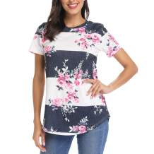 INWECH Women Casual Floral Print Blouses Tops Short Sleeve Round Neck T Shirt Blouse Tee with Curved Hem