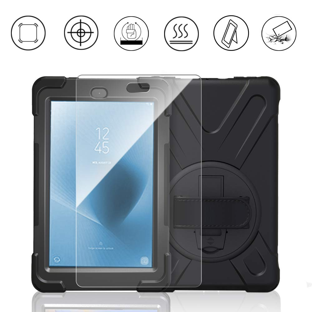 Fire HD 8 Tablet Case with Screen Protector 2017 2018, Gzerma Heavy Duty Shockproof Rugged Cover with Stand and Hand Strap for Amazon Kindle Fire HD 8 8th Generation Case Tablet (6th/7th generation Realease), Black